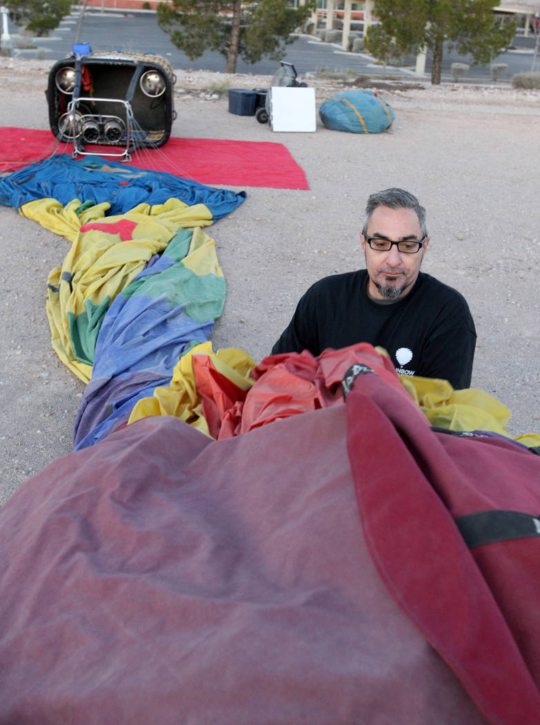 Rainbow Ryders field operations manager Danny Breeden prepares for an early morning hot air balloon flight at an empty southwest Las Vegas lot Wednesday, Jan. 24, 2018. K.M. Cannon Las Vegas Revie ...