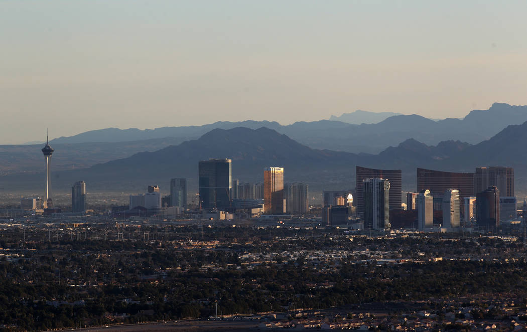 The north Strip as seen from a hot air balloon piloted by Daniel Liberti of Rainbow Ryders during an early morning flight in southwest Las Vegas Wednesday, Jan. 24, 2018. K.M. Cannon Las Vegas Rev ...