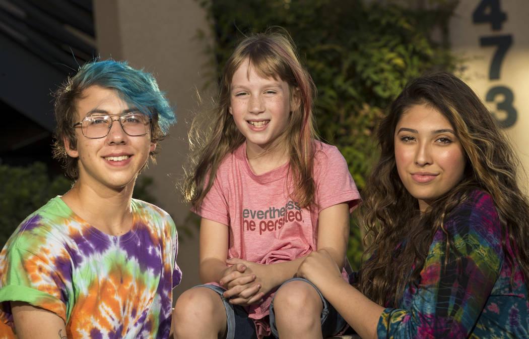 Transgender students, from left, Daniel Kruger, 16, Bella, 10, and Kristina Hernandez, 14, at the Gender Justice Nevada offices in Las Vegas on Monday, June 26, 2017. Richard Brian Las Vegas Revie ...