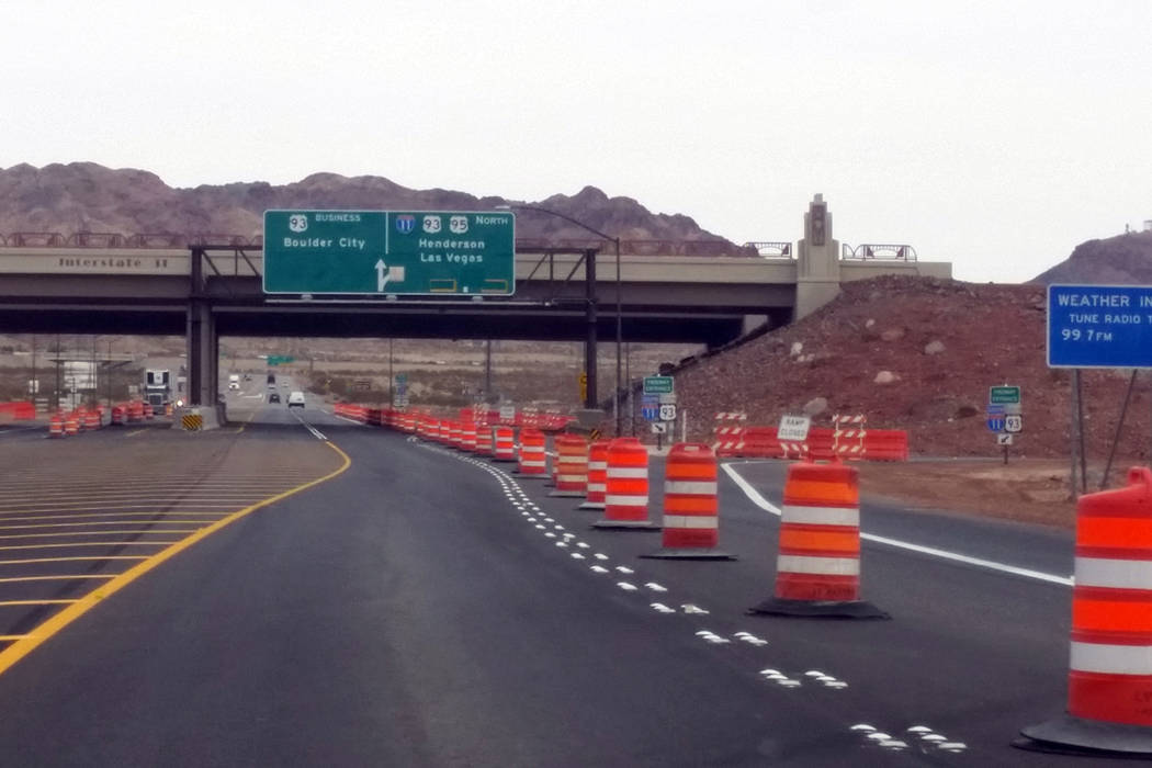The interchange at Interstate 11 and U.S. Highway 95 is still under construction and set to open in April. Celia Shortt Goodyear/Boulder City Review