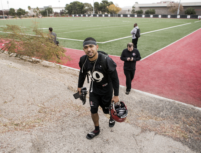 San Diego State football running back Donnel Pumphrey  exits Rebel Park after practice on Wednesday, Dec. 14, 2016. The Aztecs play Houston in the Las Vegas Bowl on Saturday. Jeff Scheid/Las Vegas ...