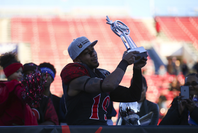 San Diego State running back Donnel Pumphrey (19) celebrates after defeating Houston in the Las Vegas Bowl at Sam Boyd Stadium in Las Vegas on Saturday, Dec. 17, 2016. San Diego State won 34-10. ( ...