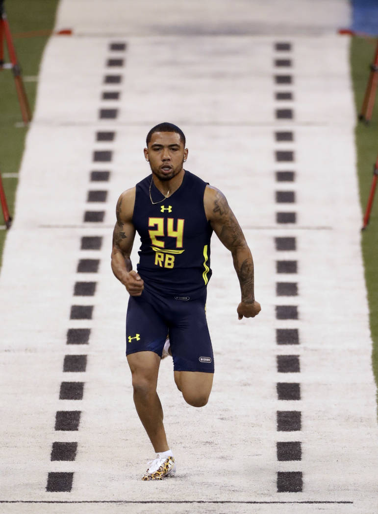 San Diego State running back Donnel Pumphrey runs the 40-yard dash at the NFL football scouting combine Friday, March 3, 2017, in Indianapolis. (David J. Phillip/AP)