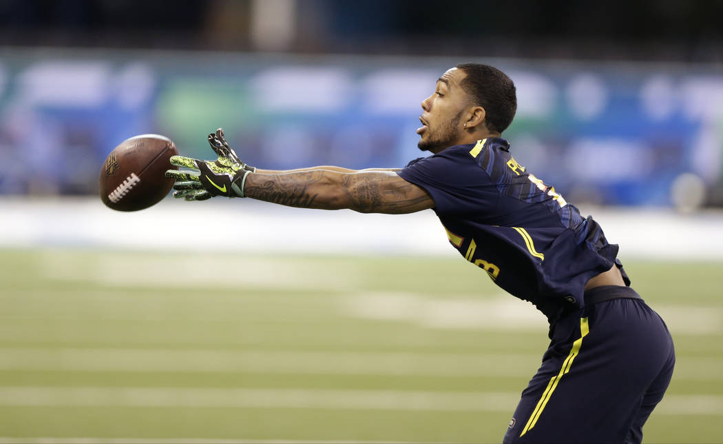 San Diego State running back Donnel Pumphrey runs a drill at the NFL football scouting combine in Indianapolis, Friday, March 3, 2017. (Michael Conroy/AP)