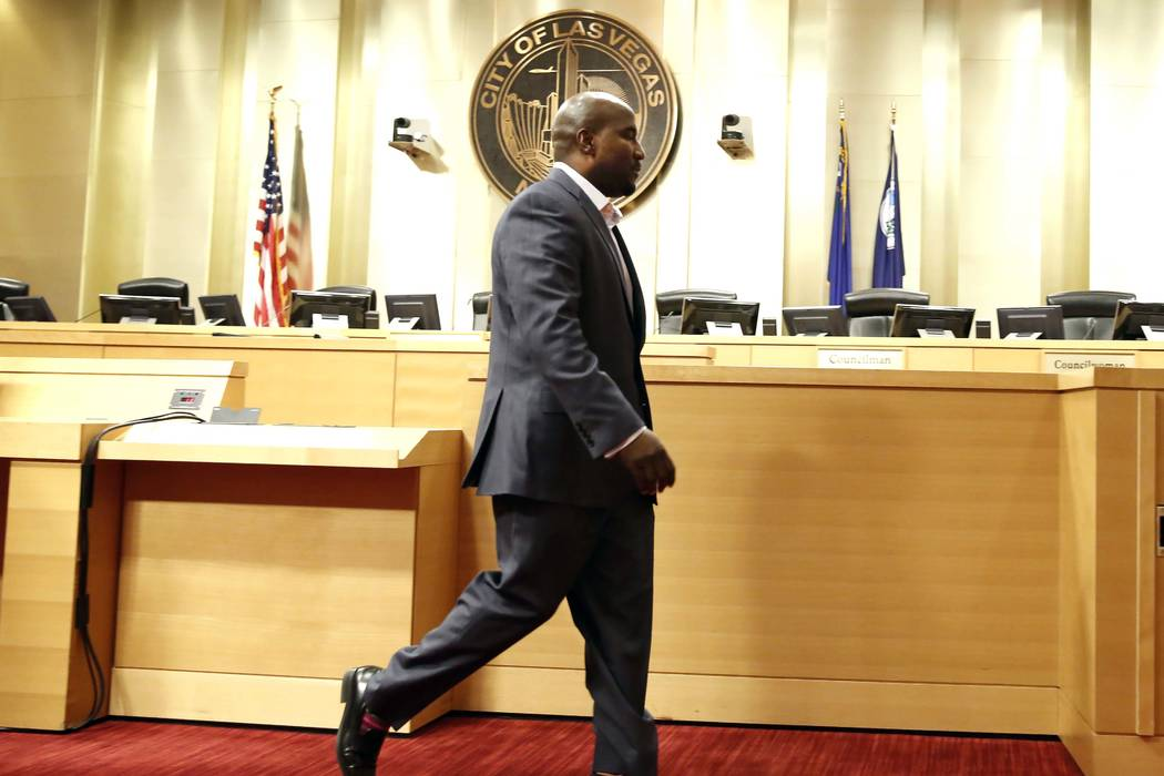 Las Vegas City Councilman Ricki Y. Barlow leaves the podium after announcing his resignation during a press conference in council chambers at the City Hall on Monday, Jan. 22, 2018, in Las Vegas.  ...