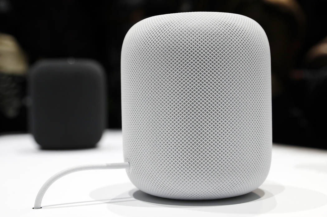 In this Monday, June 5, 2017, file photo, the HomePod speaker appears on display during an announcement of new products at the Apple Worldwide Developers Conference in San Jose , Calif. Pre-orders ...