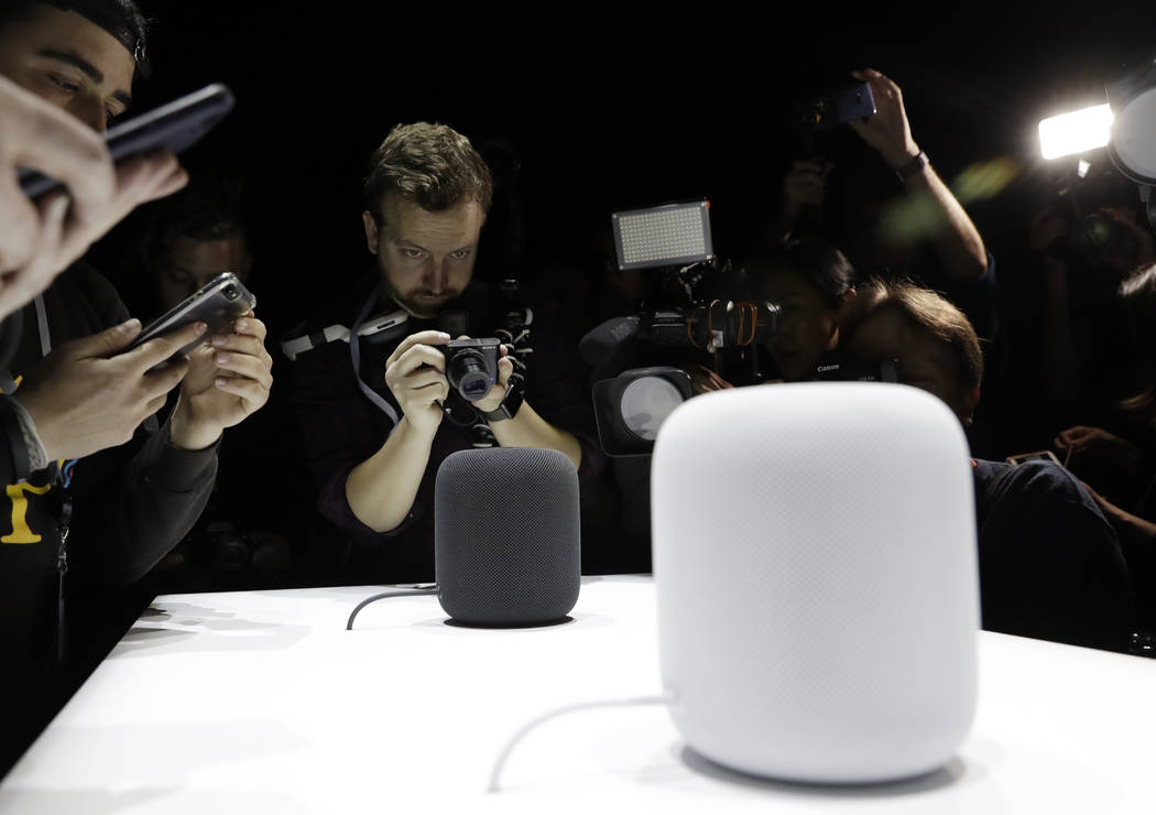 In this Monday, June 5, 2017, file photo, the HomePod speaker is photographed in a a showroom during an announcement of new products at the Apple Worldwide Developers Conference in San Jose, Calif ...