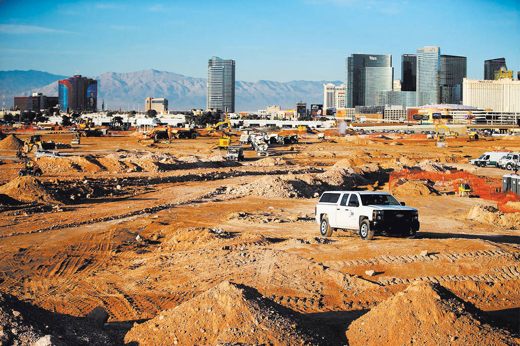 The site of the future Raiders football stadium in Las Vegas, Tuesday, Jan. 16, 2018. (Erik Verduzco/Las Vegas Review-Journal @Erik_Verduzco)