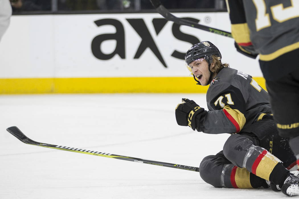 Vegas Golden Knights center William Karlsson (71) celebrates his score against Columbus Blue Jackets in the first period of the NHL game at T-Mobile Arena Las Vegas, Tuesday, Jan. 23, 2018. Erik V ...