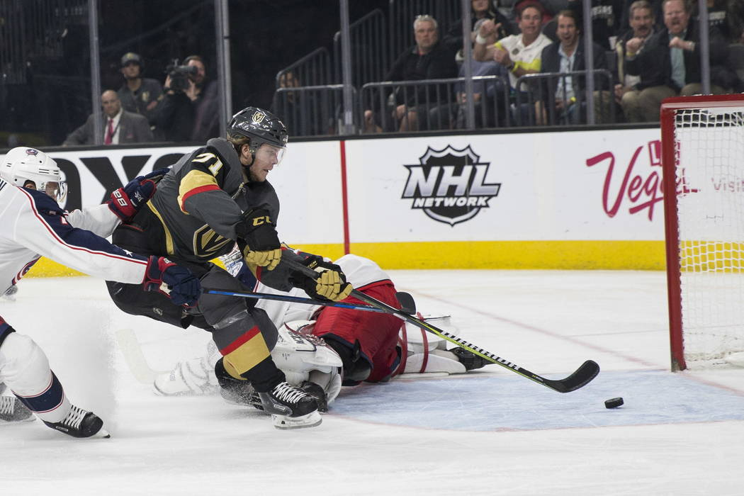 Vegas Golden Knights center William Karlsson (71) shoots the puck for a score against Columbus Blue Jackets in the NHL game at T-Mobile Arena Las Vegas, Tuesday, Jan. 23, 2018. Vegas Golden Knight ...