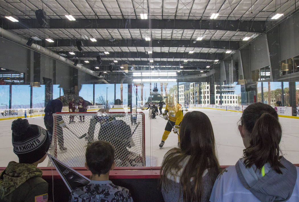 Fans watch the Vegas Golden Knights practice at the City National Arena in Las Vegas, Monday, Jan. 15, 2018. Rachel Aston Las Vegas Review-Journal @rookie__rae