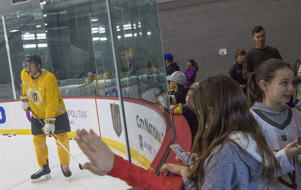 Fans watch the Vegas Golden Knights practice and start to line up for players' autographs at the City National Arena in Las Vegas, Monday, Jan. 15, 2018. Rachel Aston Las Vegas Review-Journal @roo ...