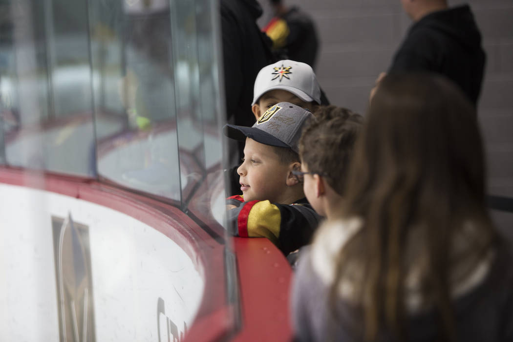 Justin Bartell, 10, watches the Vegas Golden Knights practice at the City National Arena in Las Vegas, Monday, Jan. 15, 2018. Rachel Aston Las Vegas Review-Journal @rookie__rae
