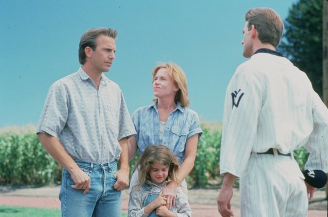 "Kevin Costner, Gaby Hoffmann and Amy Madigan in ""Field of Dreams"""