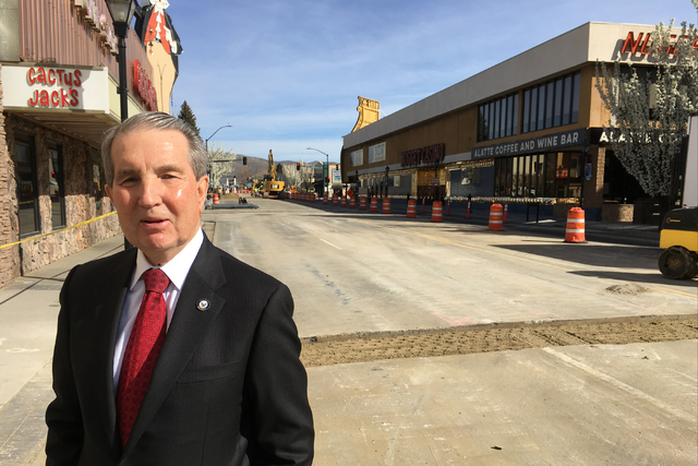 Carson City Mayor Bob Crowell talks about the downtown improvement project as work continues on March 24, 2016. (Las Vegas Review-Journal)