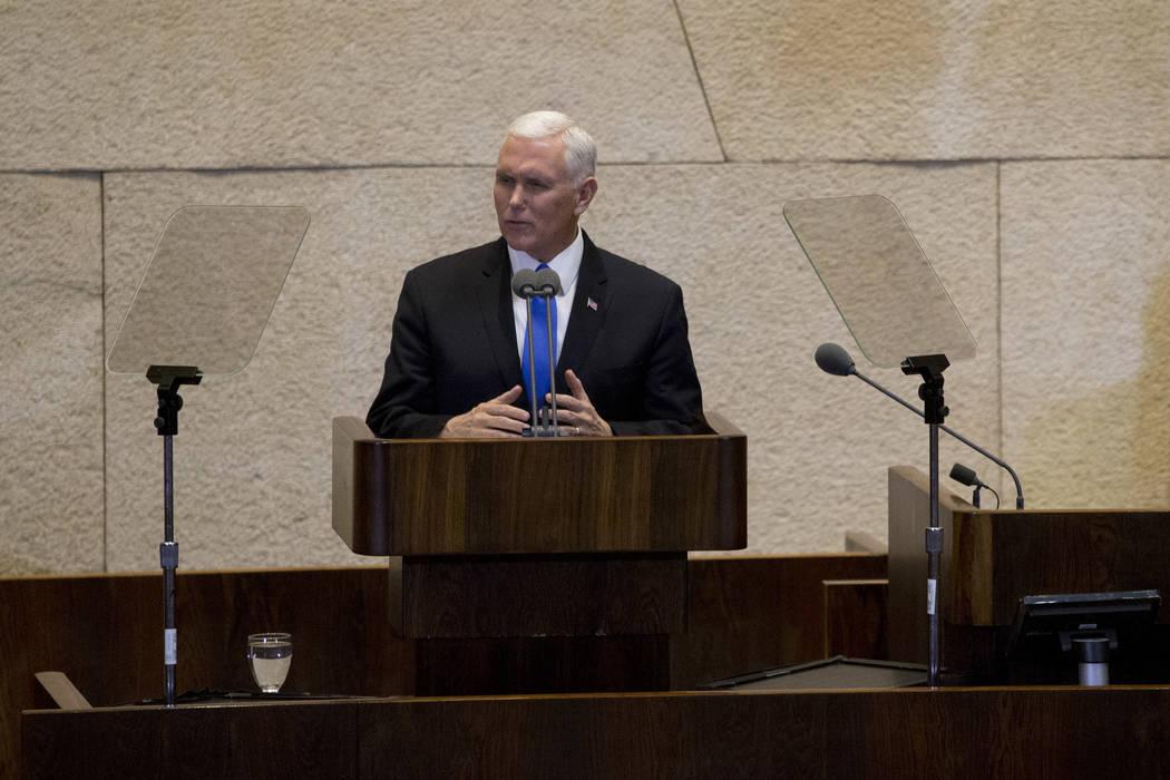 Vice President Mike Pence speaks in Israel's parliament in Jerusalem, Monday, Jan. 22, 2018. (Ariel Schalit/AP, Pool)