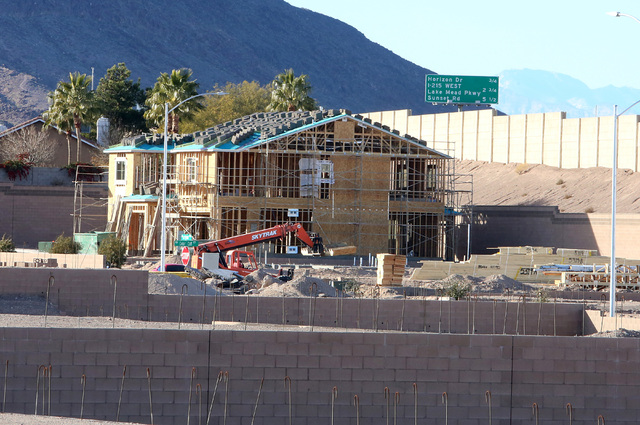 This Henderson housing development under construction on Mission Drive just west of College Drive in late 2016. (Bizuayehu Tesfaye RJRealEstate.Vegas)