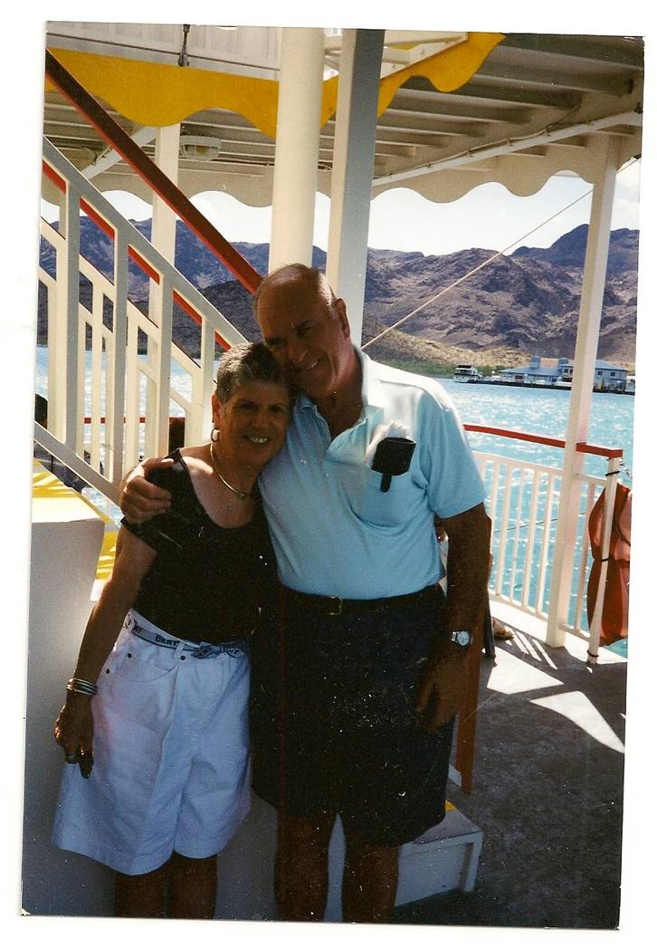 David and Rhoda Pearlstein hug while on a Lake Mead boat cruise in this undated photo. The couple grew up on the same street in New York City. Their windows faced one another and they frequented t ...