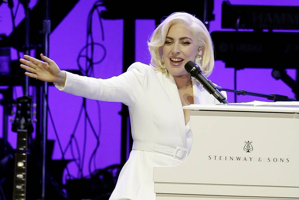 Lady Gaga performs during a hurricanes relief concert in College Station, Texas, Oct. 21, 2017. A statement released on Wednesday, Jan. 24, 2018, says the relief effort raised more than $41 millio ...