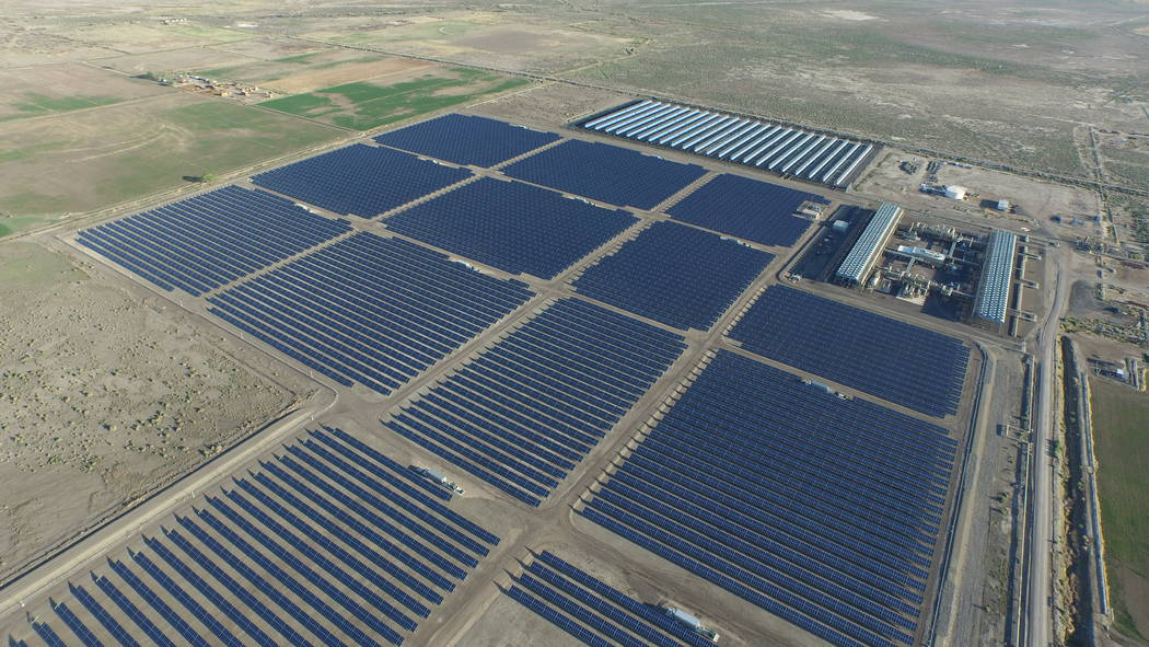 An undated aerial photo shows Enel Green Power's Stillwater GeoSolar Hybrid Plant near Fallon. A 160-acre addition to the plant's solar array could begin delivering power to Wynn Resorts in L ...