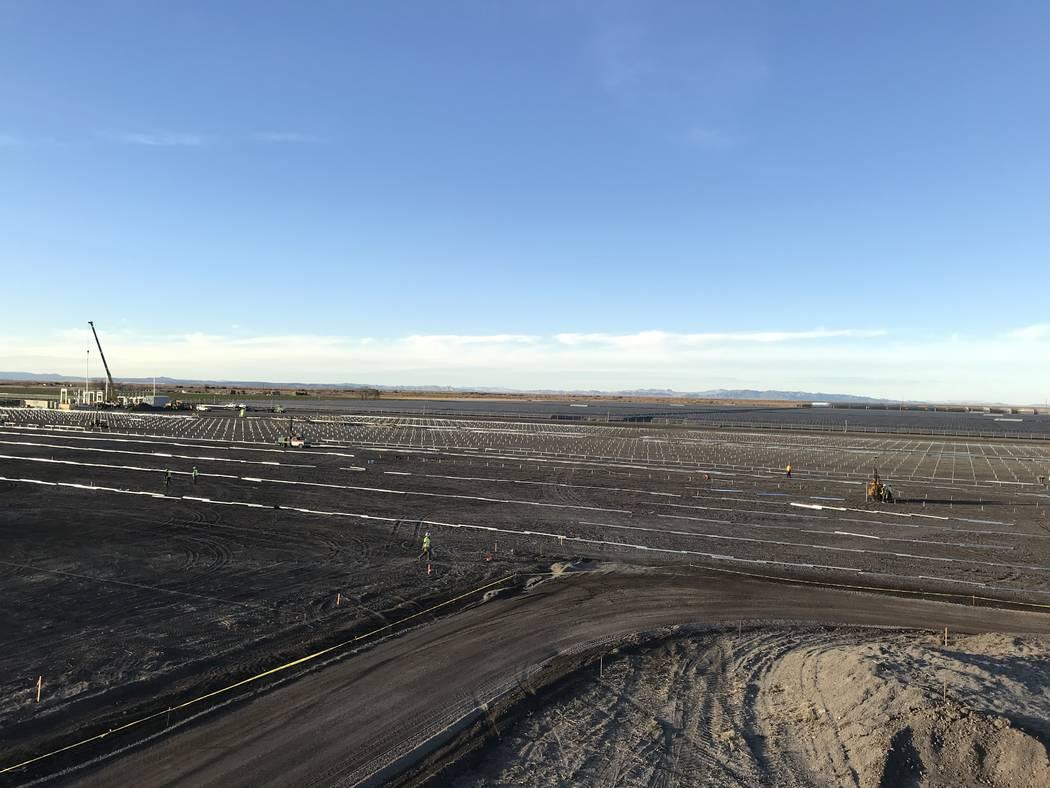 A photo taken November shows construction of a 20 megawatt solar array near Fallon that will deliver power to the new Wynn Paradise Park development in Las Vegas. Wynn Resorts