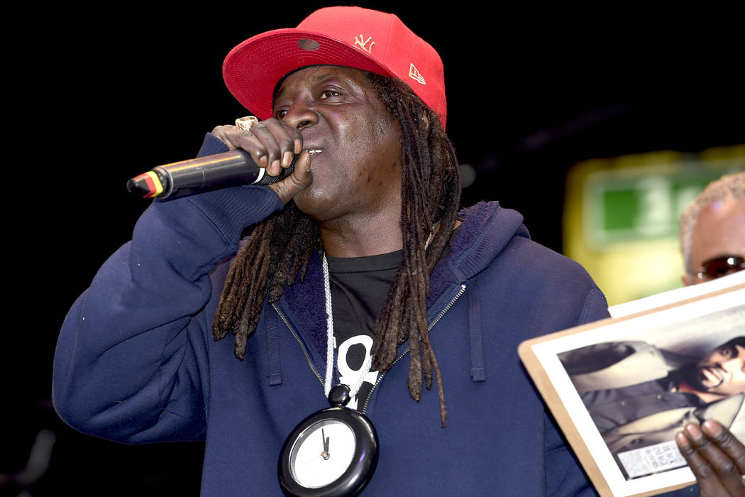 Flavor Flav, rapper, musician, celebrity accepts a Las Vegas Black Image Magazine award for his friend Teddy Riley, music producer and entertainer during the 16th Annual Taste and Sounds of Soul F ...