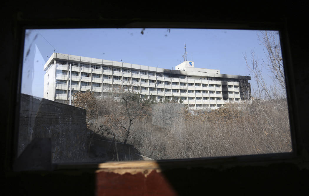 Damage on the exterior of the Intercontinental Hotel after a deadly attack in Kabul, Afghanistan, Tuesday, Jan. 23, 2018. Survivors of the Taliban attack on Kabul's Intercontinental Hotel gave har ...