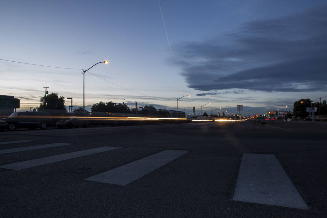 Cars pass by the crosswalk at the intersection of Whitney Avenue and Boulder Highway in Las Vegas on Wednesday, Jan. 24, 2018. The Nevada Department of Transportation plans to spend $2 million for ...