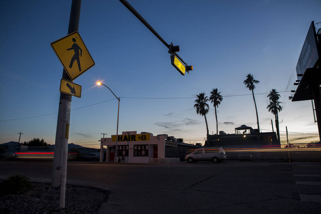 Cars drive by a crosswalk at the intersection of Whitney Avenue and Boulder Highway in Las Vegas on Wednesday, Jan. 24, 2018. The Nevada Department of Transportation plans to spend $2 million for  ...