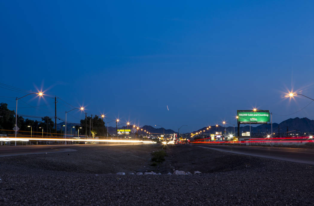 The crosswalk at the intersection of Whitney Avenue and Boulder Highway in Las Vegas on Wednesday, Jan. 24, 2018. The Nevada Department of Transportation plans to spend $2 million for improvements ...