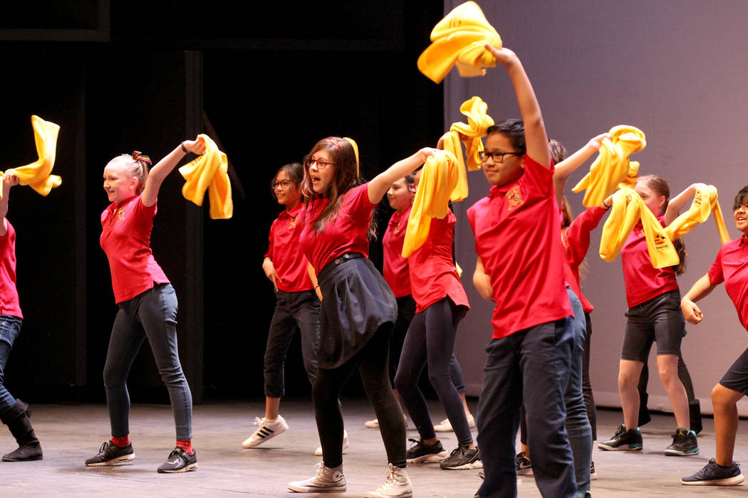 Students from Doral Academy perform the School Choice Dance at UNLV to celebrate National School Choice Week Tuesday, Jan. 23, 2018. Over 1,800 students, teacher and families watched several stude ...