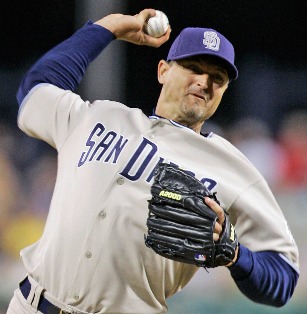 In this July 25, 2008 file photo, San Diego Padres closer Trevor Hoffman throws in the ninth inning against the Pittsburgh Pirates in a baseball game in Pittsburgh. Chipper Jones, Jim Thome, Vladi ...