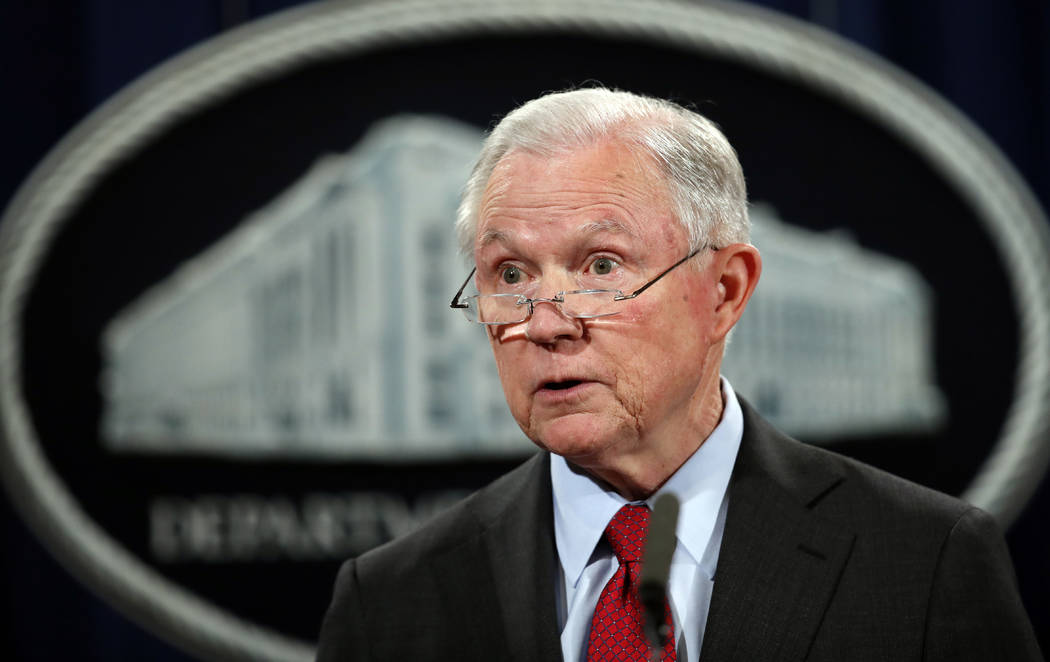 United States Attorney General Jeff Sessions speaks during a news conference at the Justice Department in Washington, Dec. 15, 2017. (Carolyn Kaster/AP Photo, File)