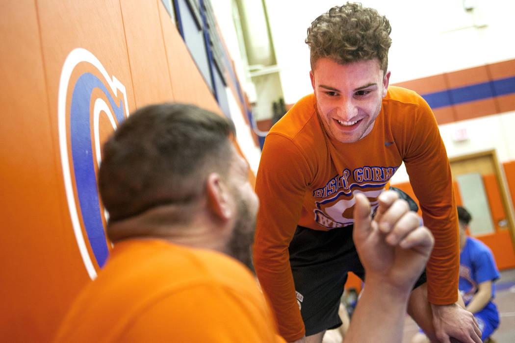 Joey Mazzara talks to Coach Todd Pace during wrestling practice at Bishop Gorman High School in Las Vegas, Wednesday, Jan. 31, 2018. Rachel Aston Las Vegas Review-Journal @rookie__rae