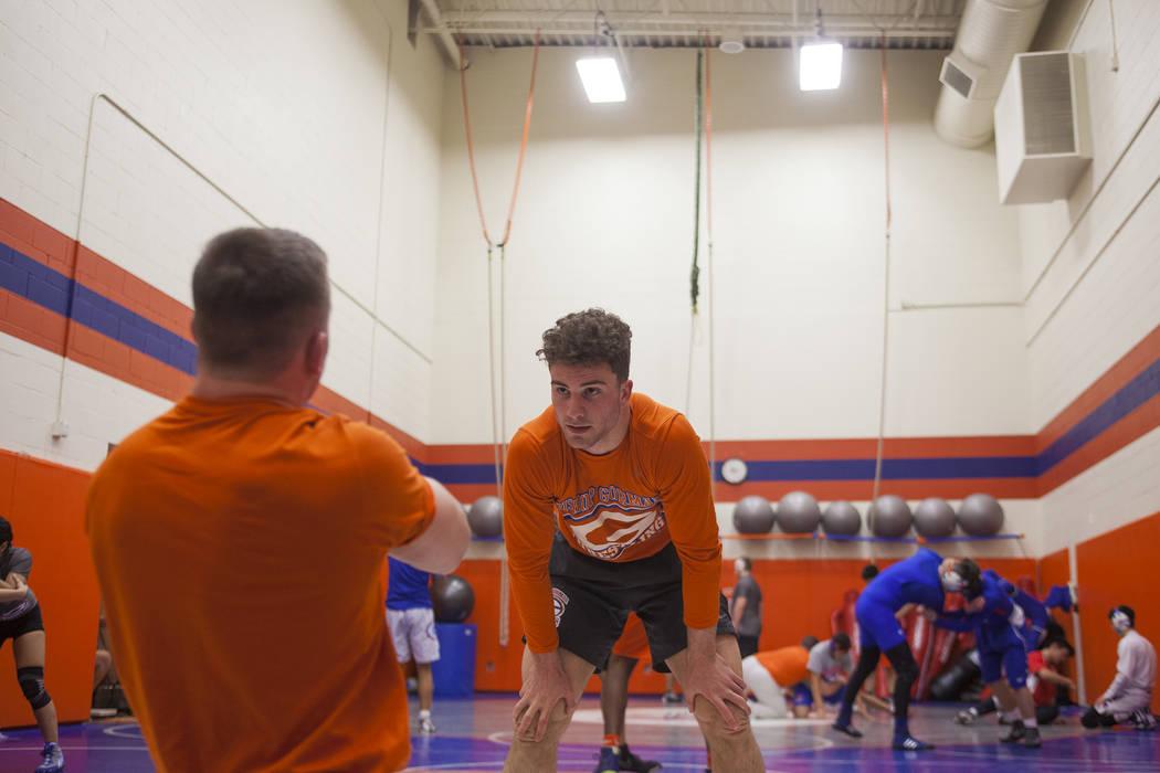 Joey Mazzara, center, practices drills with Coach Ridge Kiley at Bishop Gorman High School in Las Vegas, Wednesday, Jan. 31, 2018. Rachel Aston Las Vegas Review-Journal @rookie__rae