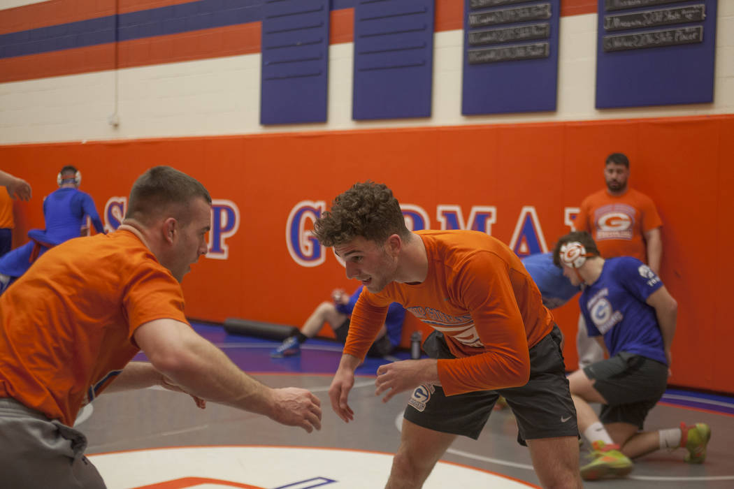 Joey Mazzara, right, practices drills with Coach Ridge Kiley at Bishop Gorman High School in Las Vegas, Wednesday, Jan. 31, 2018. Rachel Aston Las Vegas Review-Journal @rookie__rae