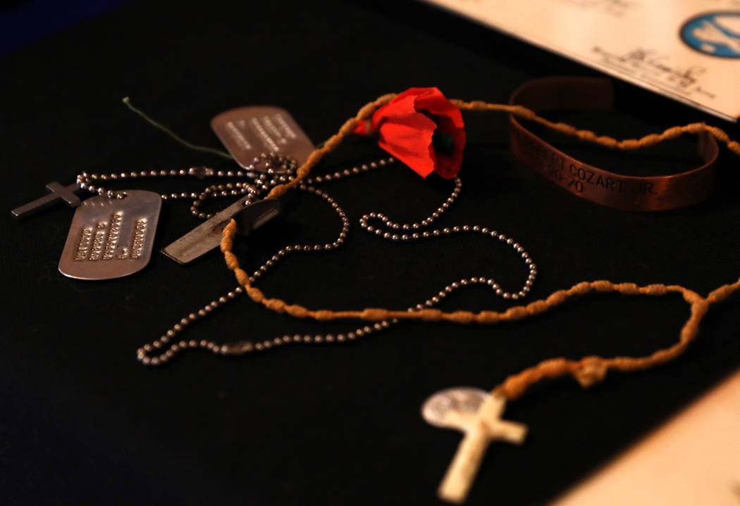 War memorabilia is on display during a 50th anniversary event remembering the Vietnam War Tet Offensive at the American Legion Vegas Post 8 in Las Vegas, Saturday, Jan. 27, 2018. Andrea Cornejo La ...