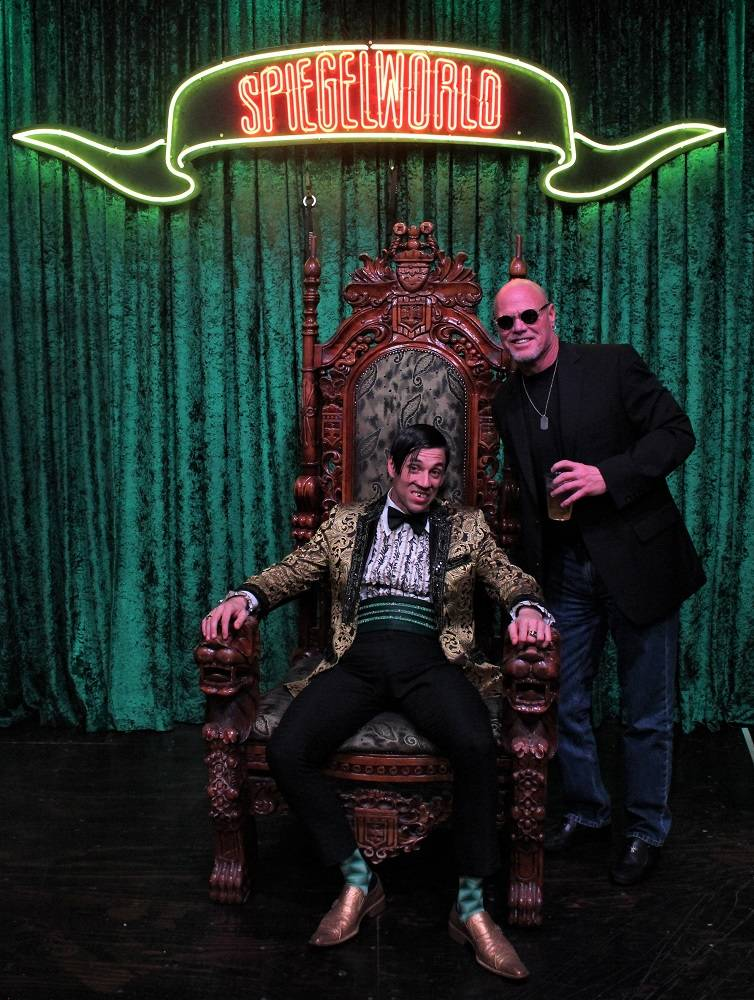 """Former NFL great Jim McMahon is shown with The Gazillionaire at """"Absinthe"""" at Caesars Palace on Wednesday, Jan. 24, 2017 (Joseph Sanders/Spiegelworld)"""
