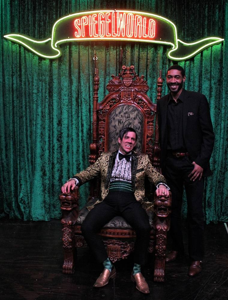 """Former NCAA basketball great Jimmy King is shown with The Gazillionaire at """"Absinthe"""" at Caesars Palace on Wednesday, Jan. 24, 2017 (Joseph Sanders/Spiegelworld)"""