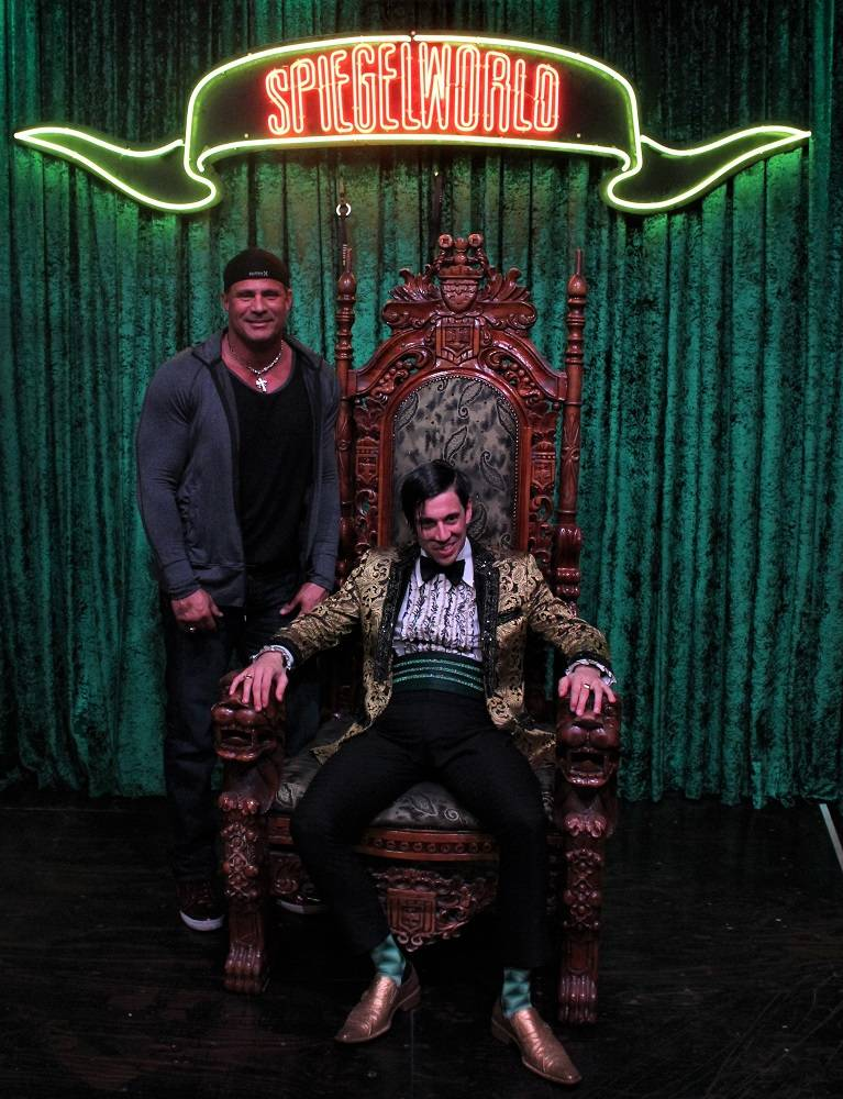 """Ex-Major League slugger Jose Canseco is shown with The Gazillionaire at """"Absinthe"""" at Caesars Palace on Wednesday, Jan. 24, 2017 (Joseph Sanders/Spiegelworld)"""