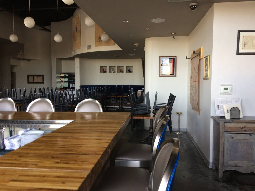 The interior of Andre's Bistro & Bar is seen Jan. 17, 2018. The interior is faintly reminiscent of his first eatery which opened more than 30 years ago downtown. At that first one, he plaste ...
