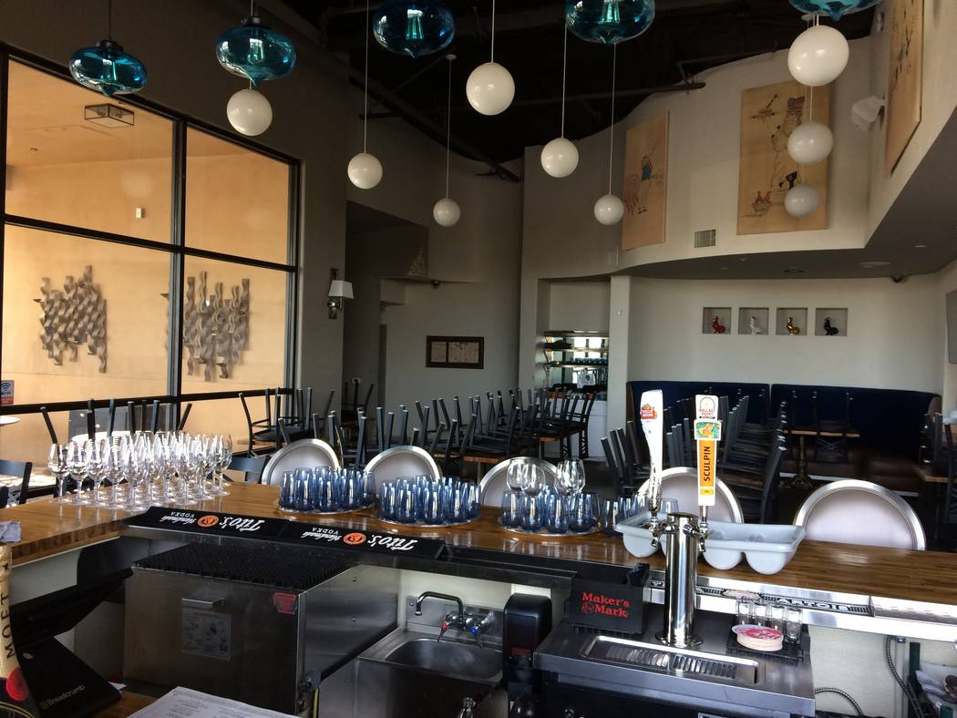 The interior of Andre's Bistro & Bar is seen Jan. 17, 2018. The interior is faintly reminiscent of Chef Andre Rochat's first eatery which opened more than 30 years ago downtown. At that firs ...