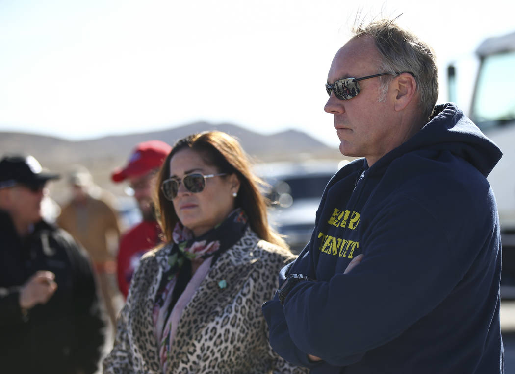 Interior Secretary Ryan Zinke and his wife Lolita before joining volunteers and Bureau of Land Management employees in cleaning up a shooting range area on public land along Las Vegas Boulevard ju ...