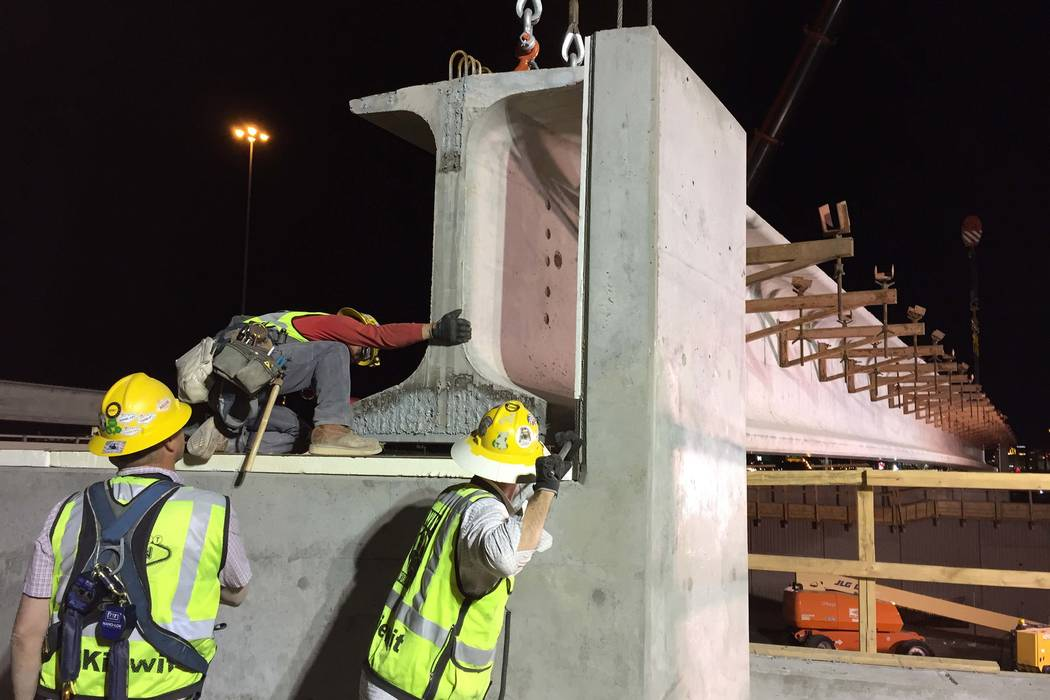 Crews continue work on the $1 billion effort to redesign and widen Interstate 15 from the U.S. Highway 95 interchange to Sahara Avenue by July 2019.(Nevada Department of Transportation)