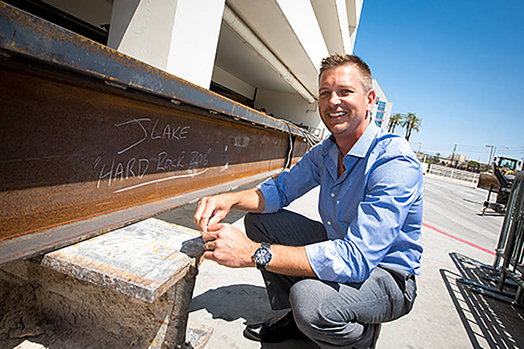 """Hard Rock Hotel Chief Executive Officer Jody Lake is shown at the hotel convention center's """"topping off"""" ceremony in May 2016. (Hard Rock Hotel)"""