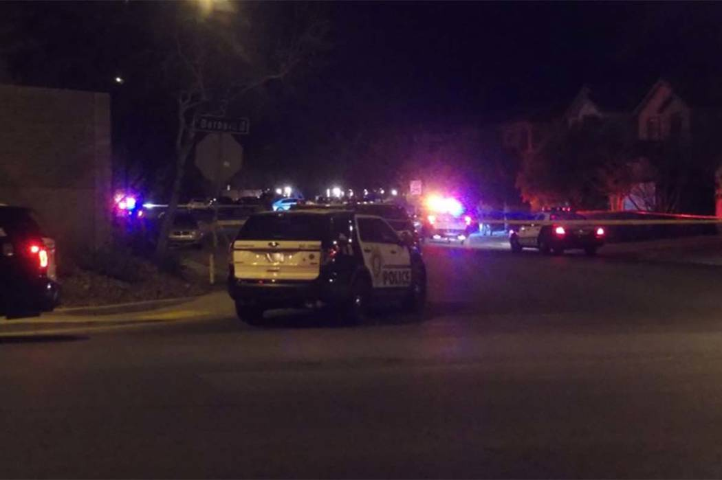 Las Vegas police investigated a Friday morning shooting that left a woman dead in south Las Vegas. Police say a man shot and killed his wife at a house at 11729 Giles St. (Max Michor/Las Vegas Rev ...