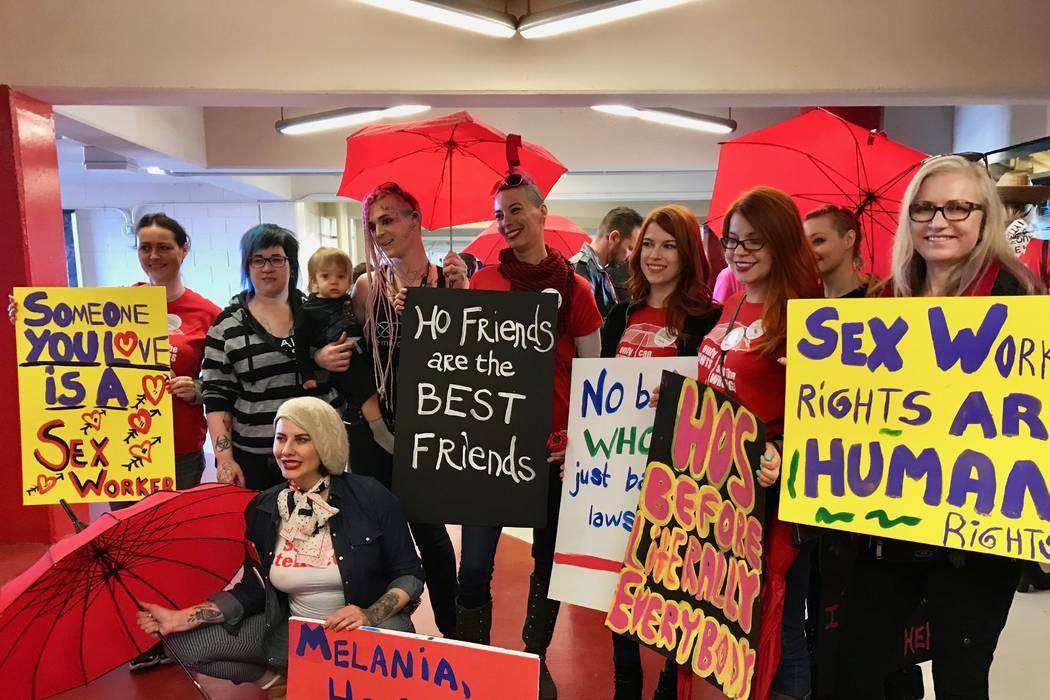 Sex workers advocates gather before the Women's March in Las Vegas, Sunday, Jan. 21, 2018. (Madelyn Reese/View) @MadelynGReese