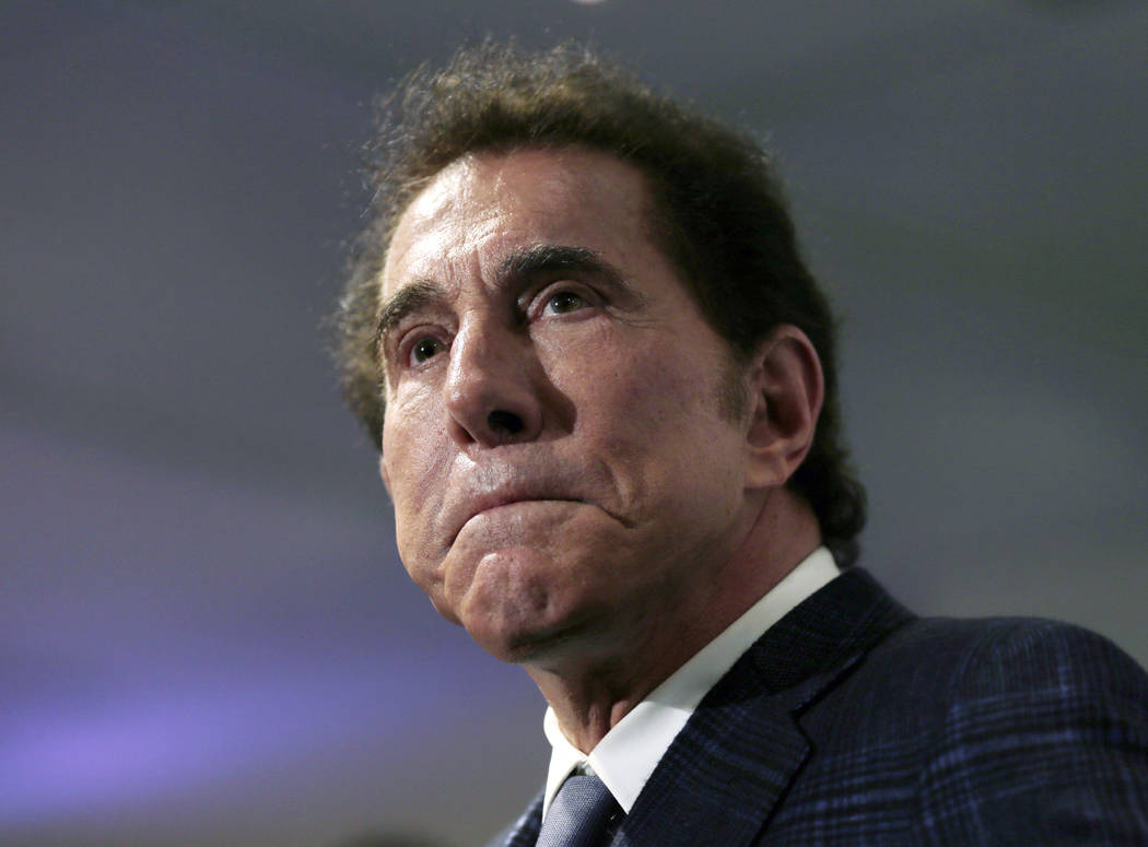 FILE - This March 15, 2016, file photo, shows casino mogul Steve Wynn at a news conference in Medford, Mass. Wynn Resorts is denying multiple allegations of sexual harassment and assault by its fo ...