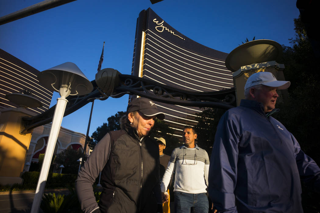 People walk outside of Wynn Las Vegas on Friday, Jan. 26, 2018. Chase Stevens Las Vegas Review-Journal @CSStevensphoto