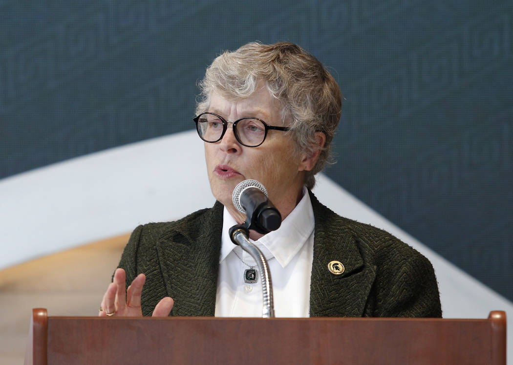 Michigan State University President Lou Anna Simon speaks during the dedication ceremony for the Gilbert Pavilion and Tom Izzo Hall of History inside Michigan State's Breslin Student Events Center ...